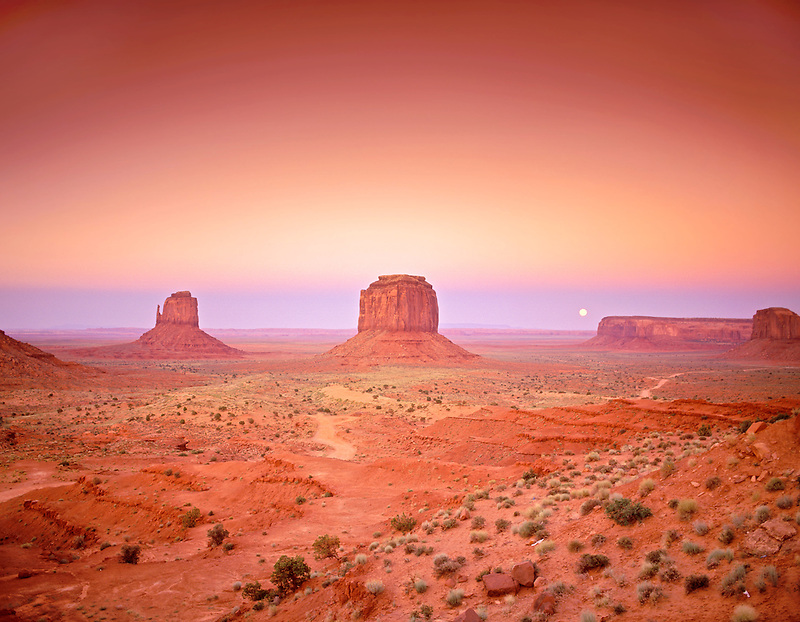 Moonrise over Monument Valley as seen from the Visitors' Center. Arizona