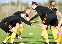 20190226 - LARNACA , CYPRUS :  Belgian Jody Vangheluwe pictured in a duel with Davinia Vanmechelen (r) during a Matchday -1 training from The Belgian Red Flames prior to their game against the women team of Slovakia , on Tuesday 26 February 2019 at the Alpha Sports Grounds in Larnaca , Cyprus . This will be the first game in group C for Belgium during the Cyprus Womens Cup 2019 , a prestigious women soccer tournament as a preparation on the European Championship 2021 qualification duels. PHOTO SPORTPIX.BE   DAVID CATRY