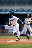 Charlotte Stone Crabs Garrett Whitley (16) bats during a Florida State League game against the Dunedin Blue Jays on April 17, 2019 at Charlotte Sports Park in Port Charlotte, Florida.  Charlotte defeated Dunedin 4-3.  (Mike Janes/Four Seam Images)