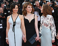 JULIETTE BINOCHE, EMILIE DEQUENNE AND ISABELLE HUPPERT - RED CARPET OF THE 70TH ANNIVERSARY CEREMONY AT THE 70TH FESTIVAL OF CANNES 2017