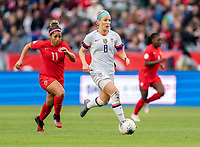 CARSON, CA - FEBRUARY 9: Julie Ertz #8 of the United States dribbles during a game between Canada and USWNT at Dignity Health Sports Park on February 9, 2020 in Carson, California.