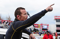 Feb. 12, 2012; Pomona, CA, USA; NHRA funny car driver Jack Beckman during the Winternationals at Auto Club Raceway at Pomona. Mandatory Credit: Mark J. Rebilas-
