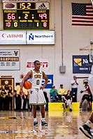 16 March 2019: University of Vermont Catamount Guard Stef Smith, a Sophomore from Ajax, Ontario, awaits the final game seconds to expire against the UMBC Retrievers in the America East Championship Game at Patrick Gymnasium in Burlington, Vermont. The Catamounts defeated the Retrievers 66-49, avenging their loss against the same team in last years' Championship Game. Mandatory Credit: Ed Wolfstein Photo *** RAW (NEF) Image File Available ***