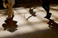NEW YORK, NEW YORK - MARCH 19: The shadow of the two women are seen at The MET Museum on March 19, 2021 in New York. The Met Museum is considering selling some of its works to support itself after claming that the pandemic has caused a loss of revenue of $150 million in about 18 months. (Photo by John Smith/VIEWpress)