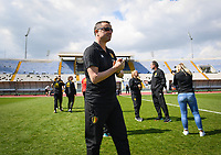 20190306 - LARNACA , CYPRUS :  Belgian head coach Ives Serneels pictured during a women's soccer game between  Austria and the Belgian Red Flames  , on wednesday 6 March 2019 at the GSZ  Stadium in Larnaca , Cyprus . This is the last game for both teams during the Cyprus Womens Cup 2019 which decides places 3 or 4, The Cyprus Women's cup is a prestigious women soccer tournament as a preparation on the Uefa Women's Euro 2021 qualification duels. PHOTO SPORTPIX.BE | DAVID CATRY