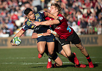 Josh Ioane is tackled by Jack Goodhue during the 2020 Super Rugby match between the Crusaders and Highlanders at Orangetheory Stadium in Christchurch, New Zealand on Saturday, 9 August 2020. Photo: Joe Johnson / lintottphoto.co.nz