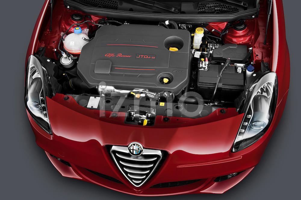 High angle engine detail of a 2010 - 2014 Alfa Romeo Giulietta 5 door hatchback.