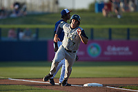 Matt Schmidt (7) of the Columbia Fireflies hustles around third base during the game against the Kannapolis Cannon Ballers at Atrium Health Ballpark on May 20, 2021 in Kannapolis, North Carolina. (Brian Westerholt/Four Seam Images)