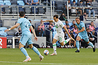 SAINT PAUL, MN - MAY 1: Jared Stroud #20 of Austin FC with the ball during a game between Austin FC and Minnesota United FC at Allianz Field on May 1, 2021 in Saint Paul, Minnesota.