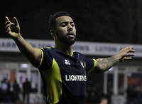 Kane Hemmings of Oxford United celebrates after Marvin Johnson of Oxford United (not pictured) scores their third goal during the The Checkatrade Trophy Semi Final match between Luton Town and Oxford United at Kenilworth Road, Luton, England on 1 March 2017. Photo by Stewart  Wright  / PRiME Media Images.