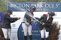 5th September 2021; Bicton Park, East Budleigh Salterton, Budleigh Salterton, United Kingdom: Bicton CCI 5* Equestrian Event; champagne celebrations for the top three, Piggy Mach, Gemma Tattersall and Pippa Funnell