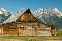 The Thomas Alma Moulton  barn on Mormon Row with the Teton Range in the background in Grand Teton National Park, Wyoming, USA