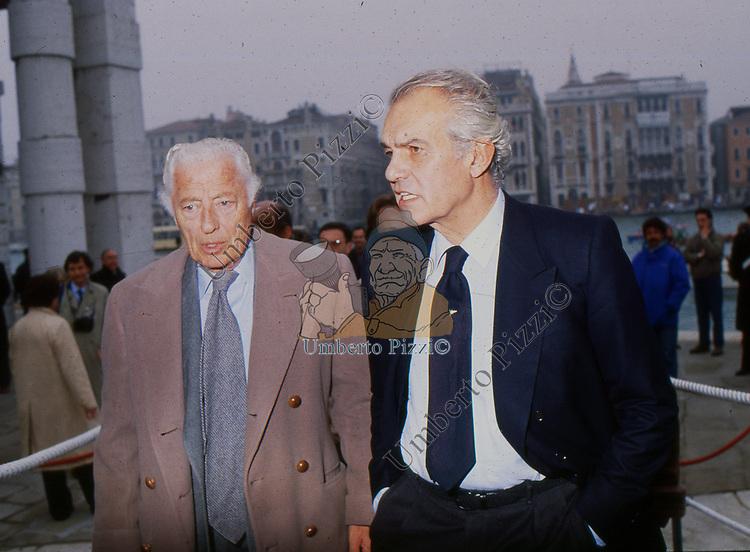 GIANNI AGNELLI E RAOUL GARDINI<br /> VARO DEL MORO DI VENEZIA  - VENEZIA 1990