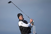 3rd October 2021; The Old Course, St Andrews Links, Fife, Scotland; European Tour, Alfred Dunhill Links Championship, Fourth round; Danny Willett of England tees off on the sixteenth hole during the final round of the Alfred Dunhill Links Championship on the Old Course, St Andrews