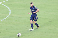 CARY, NC - AUGUST 01: Conor Donovan #20 passes the ball during a game between Birmingham Legion FC and North Carolina FC at Sahlen's Stadium at WakeMed Soccer Park on August 01, 2020 in Cary, North Carolina.