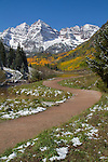 Autumn snow and the Maroon Bells Peaks, Aspen, Colorado John offers fall foliage photo tours throughout Colorado. .  John leads hiking and photo tours throughout Colorado.