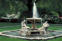 Ornamental fountain in the gardens of the Cleveland Museum of Art, Cleveland, OH.  May not be used in an elementary school dictionary. Cleveland Ohio USA.