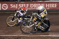Heat 1: Scott Nicholls (white) and Greg Hancock (red) - Lee Richardson Memorial Speedway Meeting at Arena Essex Raceway, Purfleet - 28/09/12 - MANDATORY CREDIT: Gavin Ellis/TGSPHOTO - Self billing applies where appropriate - 0845 094 6026 - contact@tgsphoto.co.uk - NO UNPAID USE.