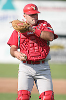 June 27th 2008:  Catcher Mike Zaccardo of the Williamsport Crosscutters, Class-A affiliate of the Pittsburgh Pirates, during a game at Russell Diethrick Park in Jamestown, NY.  Photo by:  Mike Janes/Four Seam Images