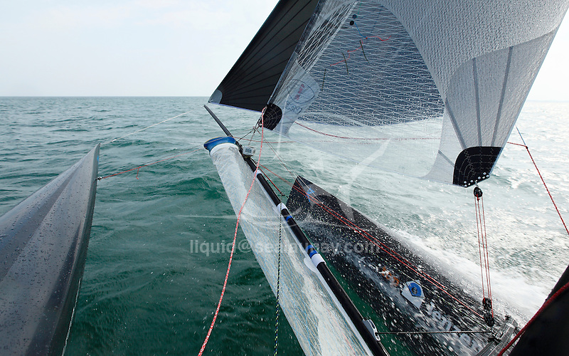Onboard during a training session on a F18 before the Eurocat 2011, the great catamaran in Carnac, Brittany, France..Mischa Heemskerk.Bastiaan Tentij.F18 Cirrus R.