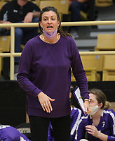 Jessica Phelan head volleyball coach for Fayetteville on Thursday, Oct.  7, 2021, during play at Tiger Arena in Bentonville. Visit nwaonline.com/211008Daily/ for today's photo gallery.<br /> (Special to the NWA Democrat-Gazette/David Beach)