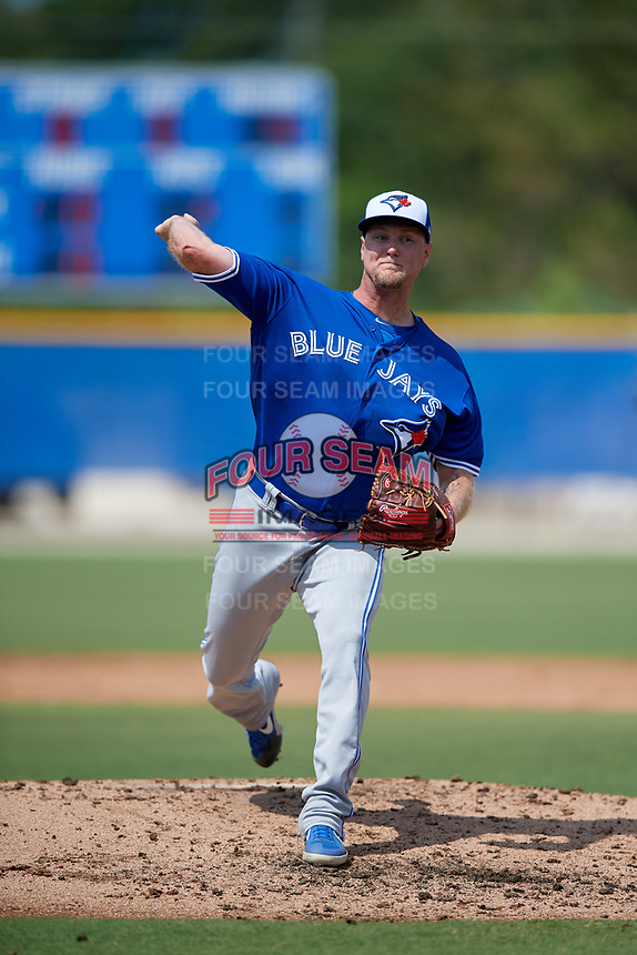 Toronto Blue Jays pitcher Jon Harris (41) during an Instructional League game against the Philadelphia Phillies on September 27, 2019 at Englebert Complex in Dunedin, Florida.  (Mike Janes/Four Seam Images)