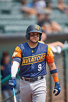Vimael Machín (9) of the Las Vegas Aviators on deck against the Salt Lake Bees at Smith's Ballpark on July 25, 2021 in Salt Lake City, Utah. The Aviators defeated the Bees 10-6. (Stephen Smith/Four Seam Images)
