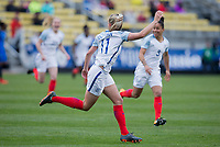 Columbus, Ohio - Thursday March 01, 2018: Toni Duggan celebrates a goal during a 2018 SheBelieves Cup match between the women's national teams of the England (ENG) and France (FRA) at MAPFRE Stadium.