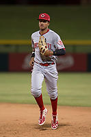 AZL Reds center fielder Danny Lantigua (28) jogs off the field between innings of an Arizona League game against the AZL Cubs 1 at Sloan Park on July 13, 2018 in Mesa, Arizona. The AZL Cubs 1 defeated the AZL Reds 4-1. (Zachary Lucy/Four Seam Images)