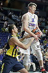 Fenerbahce Ulker Istambul's Nemanja Bjelica (l) and CSKA Moscow's Andrey Vorontsevich during Euroleague Third Place Game. May 15,2015. (ALTERPHOTOS/Acero)
