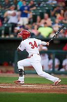 Peoria Chiefs center fielder Magneuris Sierra (34) at bat during a game against the Dayton Dragons on May 6, 2016 at Dozer Park in Peoria, Illinois.  Peoria defeated Dayton 5-0.  (Mike Janes/Four Seam Images)