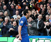 Chelsea's Pedro celebrates scoring his side's second goal with fans<br /> <br /> Photographer Stephanie Meek/CameraSport<br /> <br /> The Premier League - Chelsea v Everton - Sunday 8th March 2020 - Stamford Bridge - London<br /> <br /> World Copyright © 2020 CameraSport. All rights reserved. 43 Linden Ave. Countesthorpe. Leicester. England. LE8 5PG - Tel: +44 (0) 116 277 4147 - admin@camerasport.com - www.camerasport.com
