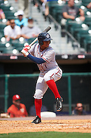 Syracuse Chiefs second baseman Chris Bostick (1) at bat during a game against the Buffalo Bisons on July 31, 2016 at Coca-Cola Field in Buffalo, New York.  Buffalo defeated Syracuse 6-5.  (Mike Janes/Four Seam Images)