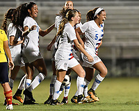 Lakewood Ranch, FL - Wednesday, October 10, 2018:   Mia Fishel, goal celebration during a U-17 USWNT match against Colombia.  The U-17 USWNT defeated Colombia 4-1.