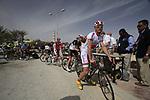 Katusha Team rider Aliaksandr Kuchynski (BLR) signs on before the start of the 3rd Stage of the 2012 Tour of Qatar running 146.5km from Dukhan Souq, Dukhan to Al Gharafa, Qatar. 7th February 2012.<br /> (Photo Eoin Clarke/Newsfile)