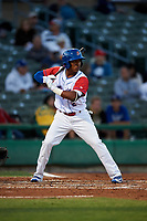 Stockton Ports third baseman Brallan Perez (2) at bat during a California League game against the Rancho Cucamonga Quakes at Banner Island Ballpark on May 16, 2018 in Stockton, California. Rancho Cucamonga defeated Stockton 6-3. (Zachary Lucy/Four Seam Images)