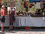 . The historic city of Montpellier Languedoc-Roussillon region of France. A market stall in Place de la Comédie à Montpellier.