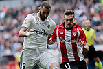 Real Madrid's Karim Benzema and Athletic Club de Bilbao's Inigo Cordoba during La Liga match between Real Madrid and Athletic Club de Bilbao at Santiago Bernabeu Stadium in Madrid, Spain. April 21, 2019. (ALTERPHOTOS/A. Perez Meca)