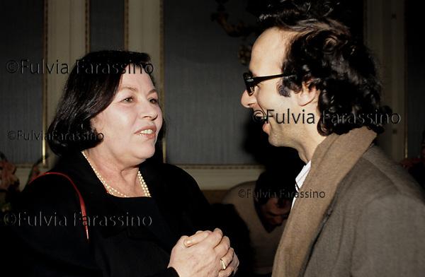Salsomaggiore, Lietta Tornabuoni e Roberto Benigni<br /> fine anni80