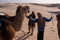 Touristen beim Kamelreiten, Douz, Tunesien