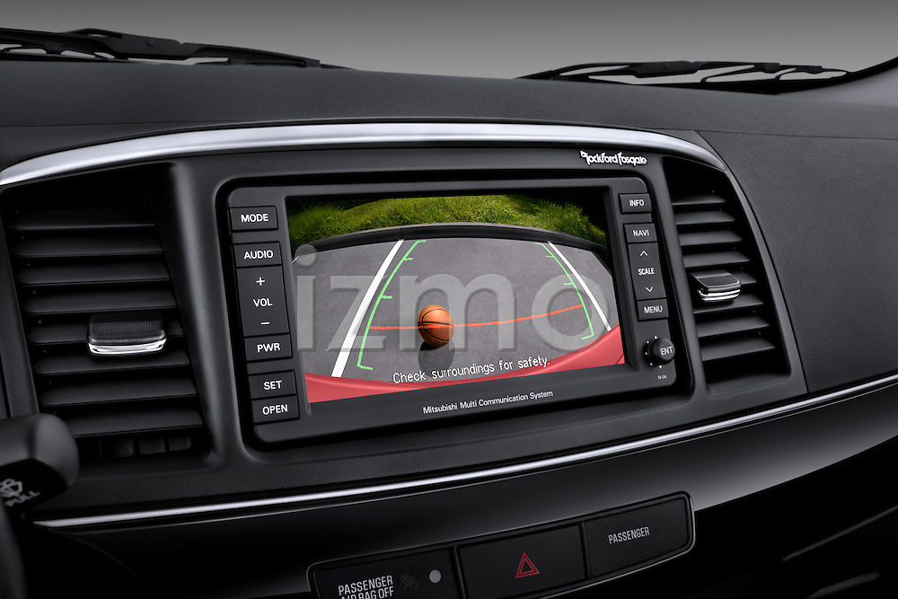 Backup camera screen view of a 2012 Mitsubishi Lancer GT Touring