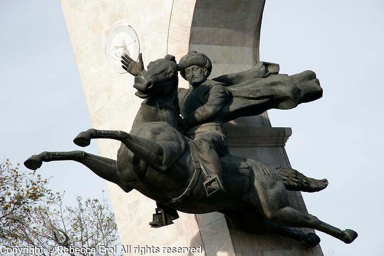 Statue of the Ottoman pirate Barbarossa, or Redbeard, in Besiktas, Istanbul, Turkey