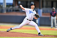 Asheville Tourists starting pitcher Jimmy Endersby (22) delivers a pitch during a game against the Bowling Green Hot Rods on May 25, 2021 at McCormick Field in Asheville, NC. (Tony Farlow/Four Seam Images)