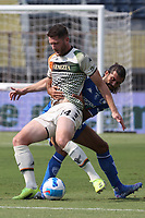 Thomas Henry of Venezia FC and Sebastiano Luperto of Empoli FC compete for the ball during the Serie A football match between Empoli FC  and Venezia FC at Carlo Castellani stadium in Empoli (Italy), September 11th, 2021. Photo Paolo Nucci / Insidefoto