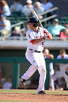 Mesa Solar Sox second baseman Taylor Lindsey (5), of the Los Angeles Angels of Anaheim organization, during an Arizona Fall League game against the Scottsdale Scorpions on October 15, 2013 at HoHoKam Park in Mesa, Arizona.  Mesa defeated Scottsdale 7-4.  (Mike Janes/Four Seam Images)