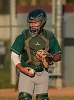 Venice Indians catcher Grant Nokes (21) during warmups before a game against the Braden River Pirates on February 25, 2021 at Braden River High School in Bradenton, Florida.  (Mike Janes/Four Seam Images)