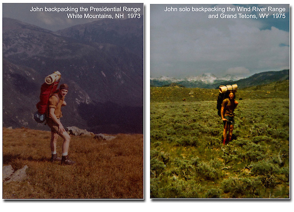 John finishing a four-week, solo backpack on the Appalachian Trail (left). Ending (and surviving) a five week, solo backpack in the Wind River and Grand Teton Ranges, WY (right).<br /> It's not that I was anti-social, it's just that no one had heard of backpacking back then.