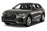 2019 Audi Q3 S-line 5 Door SUV Angular Front stock photos of front three quarter view