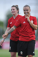 Natasha Harding of Wales Women interacts with Wales Homeless squad and school children during the Wales Women post training session at the Cardiff International Sports Stadium in Cardiff, Wales, UK. Monday 03 June 2019
