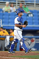 Dunedin Blue Jays catcher Jorge Saez (12) during a game against the Bradenton Marauders on April 14, 2015 at Florida Auto Exchange Stadium in Dunedin, Florida.  Bradenton defeated Dunedin 7-1.  (Mike Janes/Four Seam Images)
